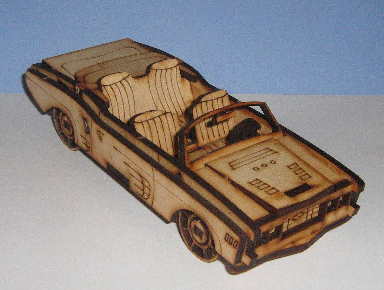Laser Cut Convertible Car 3D Template Free Vector