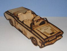 Laser Cut Convertible Car 3D Template Free Vector