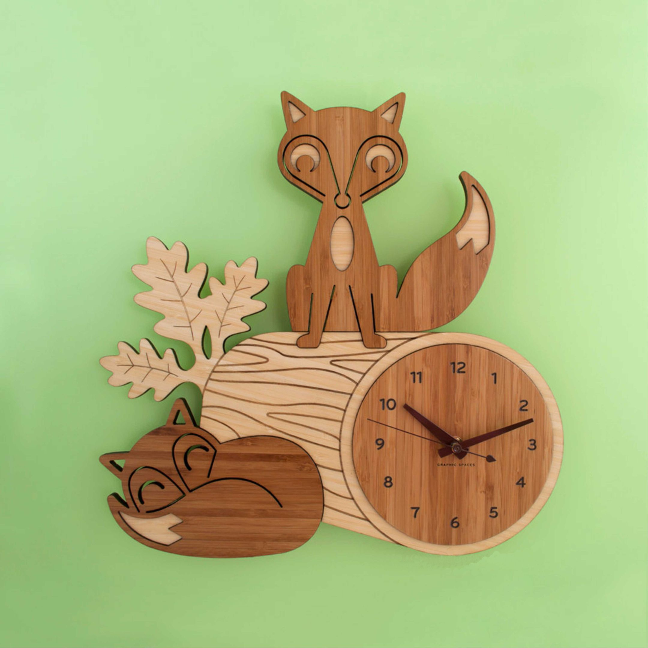 Laser Cut Clock with Fox Free Vector