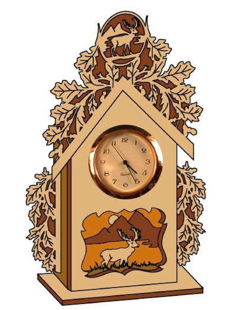 Laser Cut Deer Clock Scroll Saw Plans PDF File