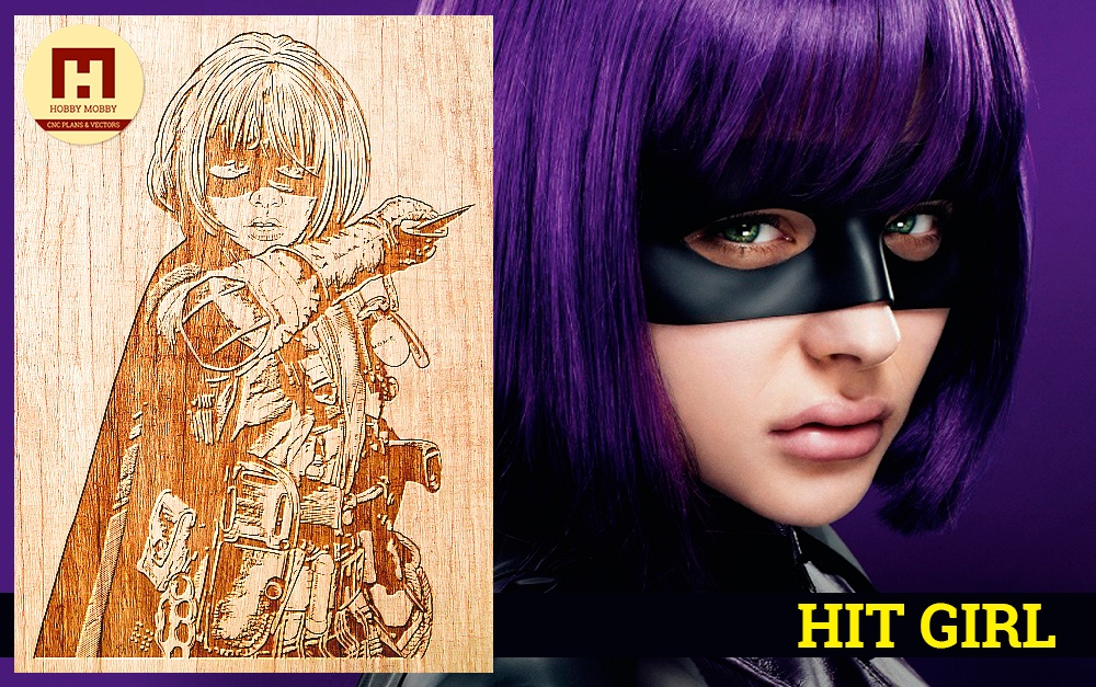 Laser Engraved Hit-Girl Free Vector