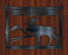 Plate Welcome Deer Free Vector