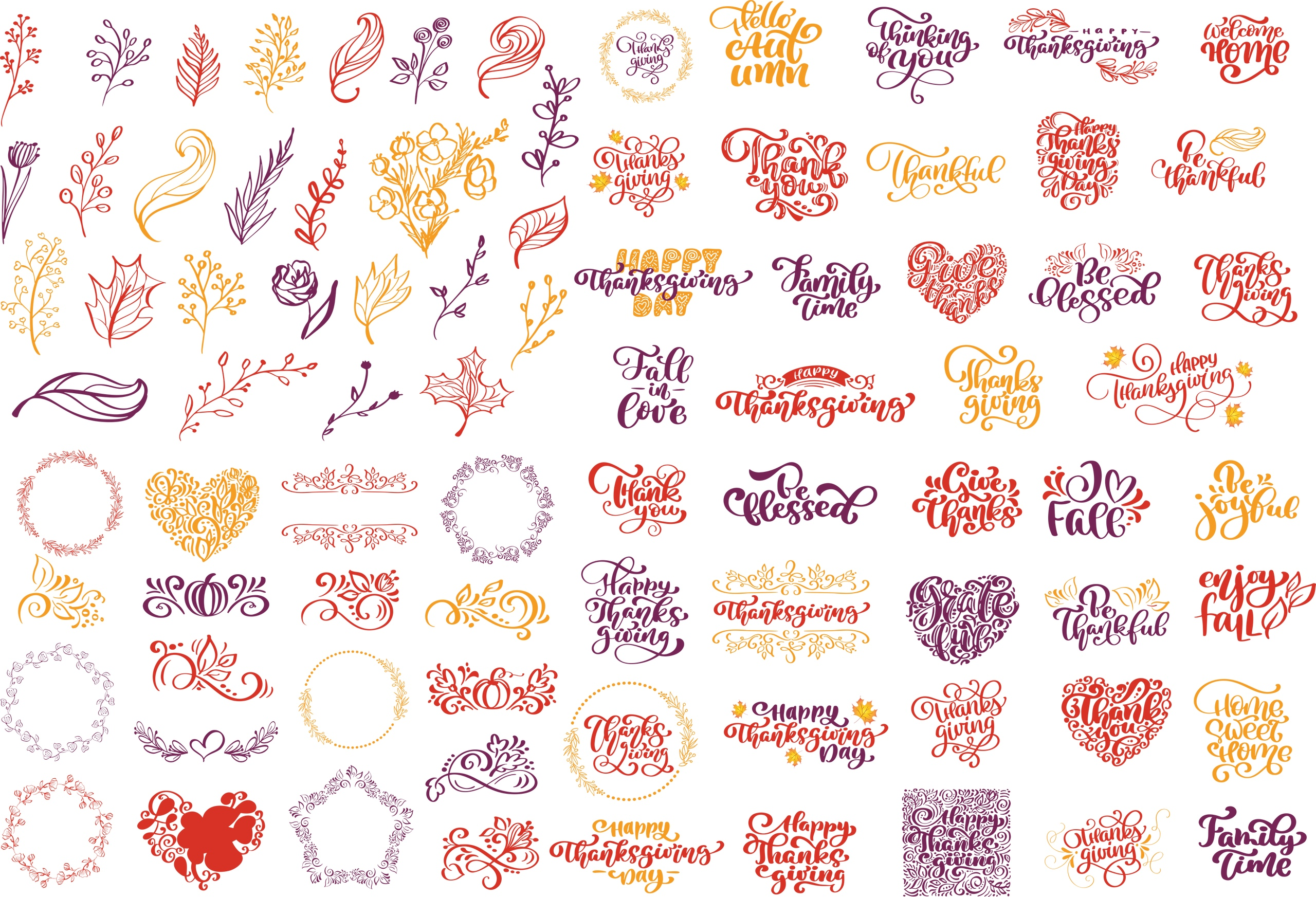 Hello Autumn Vectors Set Free Vector
