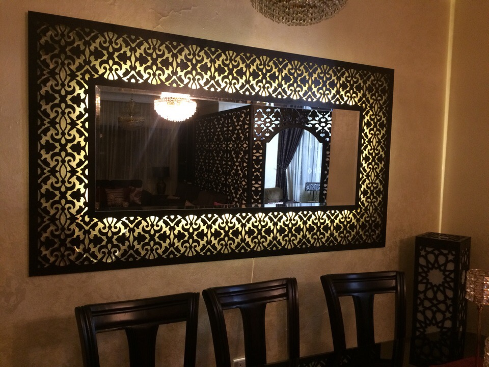Large Decorative Framed Wall Mirror CNC Plans Laser router Free Vector