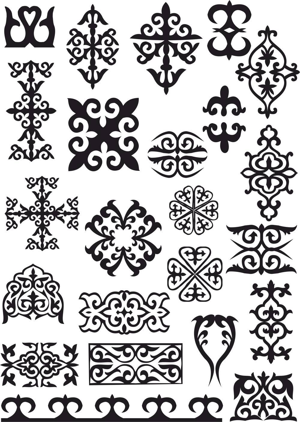 Kazakh Ornaments Patterns CDR File