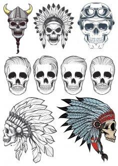 Indian Skull Vectors Pack Free Vector