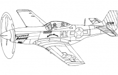 P51 Mustang Silhouette Aircraft dxf File