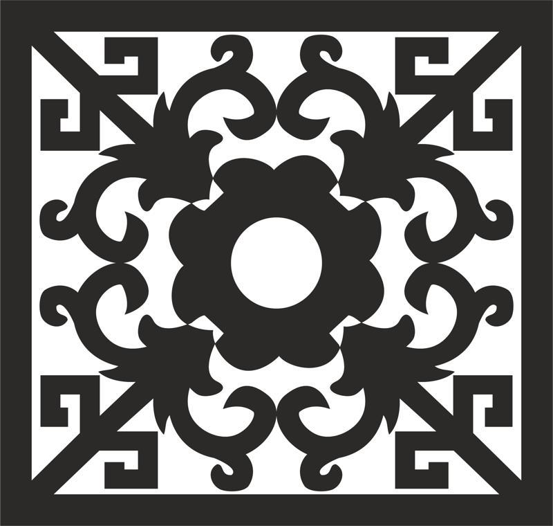Square Ornament Art DXF File
