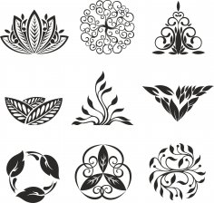 Floral Ornament Elements Free Vector