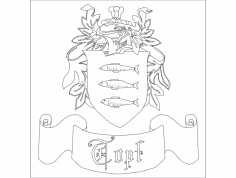 Family Crest dxf File