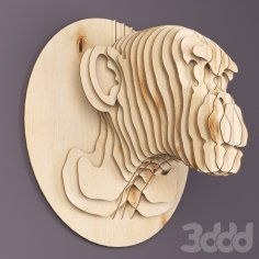 Monkey Head Plywood 3mm Free Vector