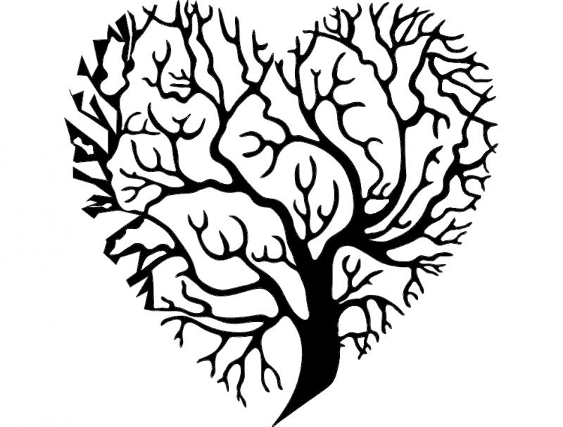 Tree Heart dxf File