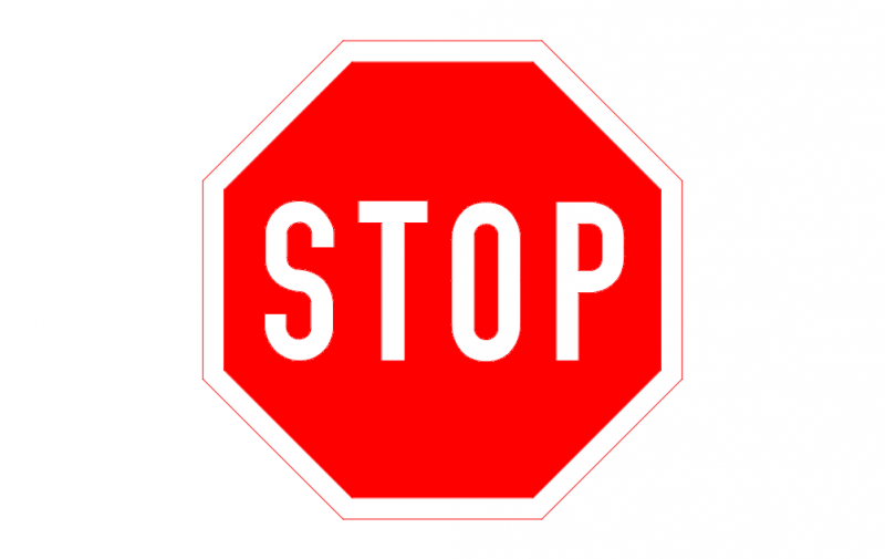 Stop Road Sign dxf File