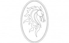 Horse Head in Oval Frame dxf File