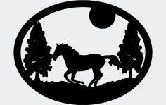 Oval Horse Trees Moon dxf File