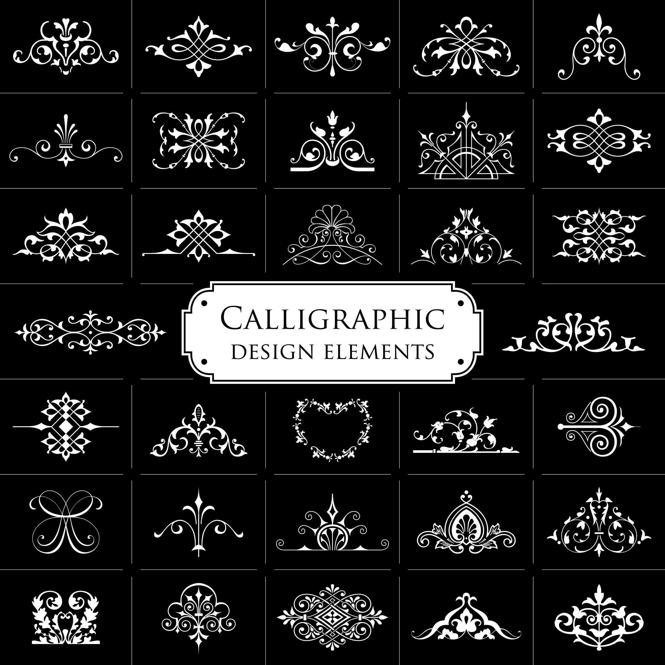 Calligraphic Design Elements Set Free Vector