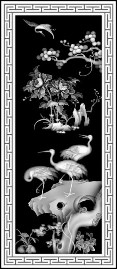 Birds Scenery Grayscale Image BMP File