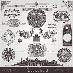 Old Town Vintage Element Old Book Objects Set Free Vector