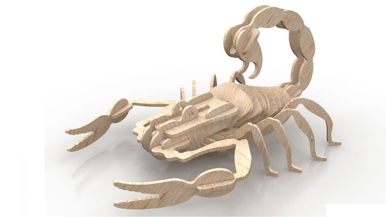 Scorpion Wood Insect 3d Puzzle 6mm DXF File
