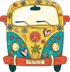 Hippie Van T-Shirt Design Free Vector