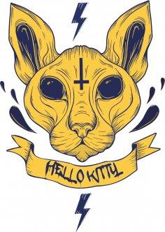 Hell Kitty Print Free Vector