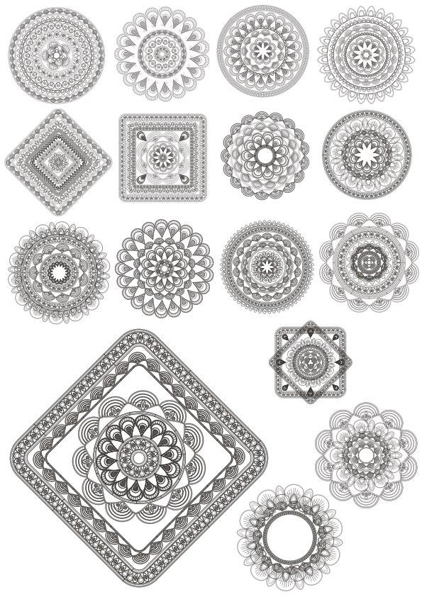 Guilloche Vector Elements Vector Art Free Vector