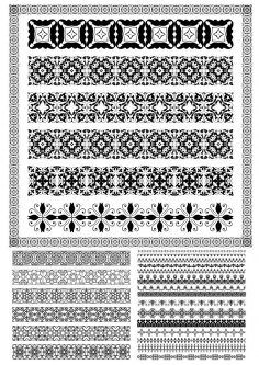 Set of Lace Vector Borders Free Vector