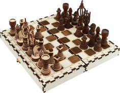 Laser Cut Portable Chess Set Free Vector