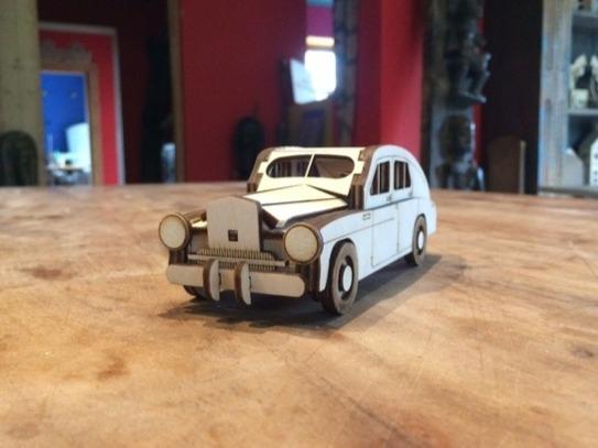 Laser Cut Wooden Retro Car Toy Free Vector