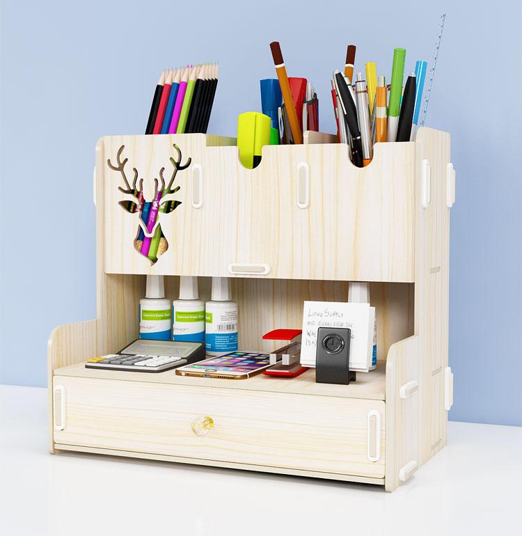 Laser Cut Pen Holder Creative Student Desktop Stationery Storage Rack Organizer DXF File