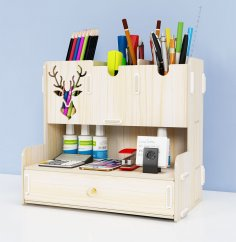 Laser Cut Pen Holder Creative Student Desktop Stationery Storage Rack Organizer DXF File