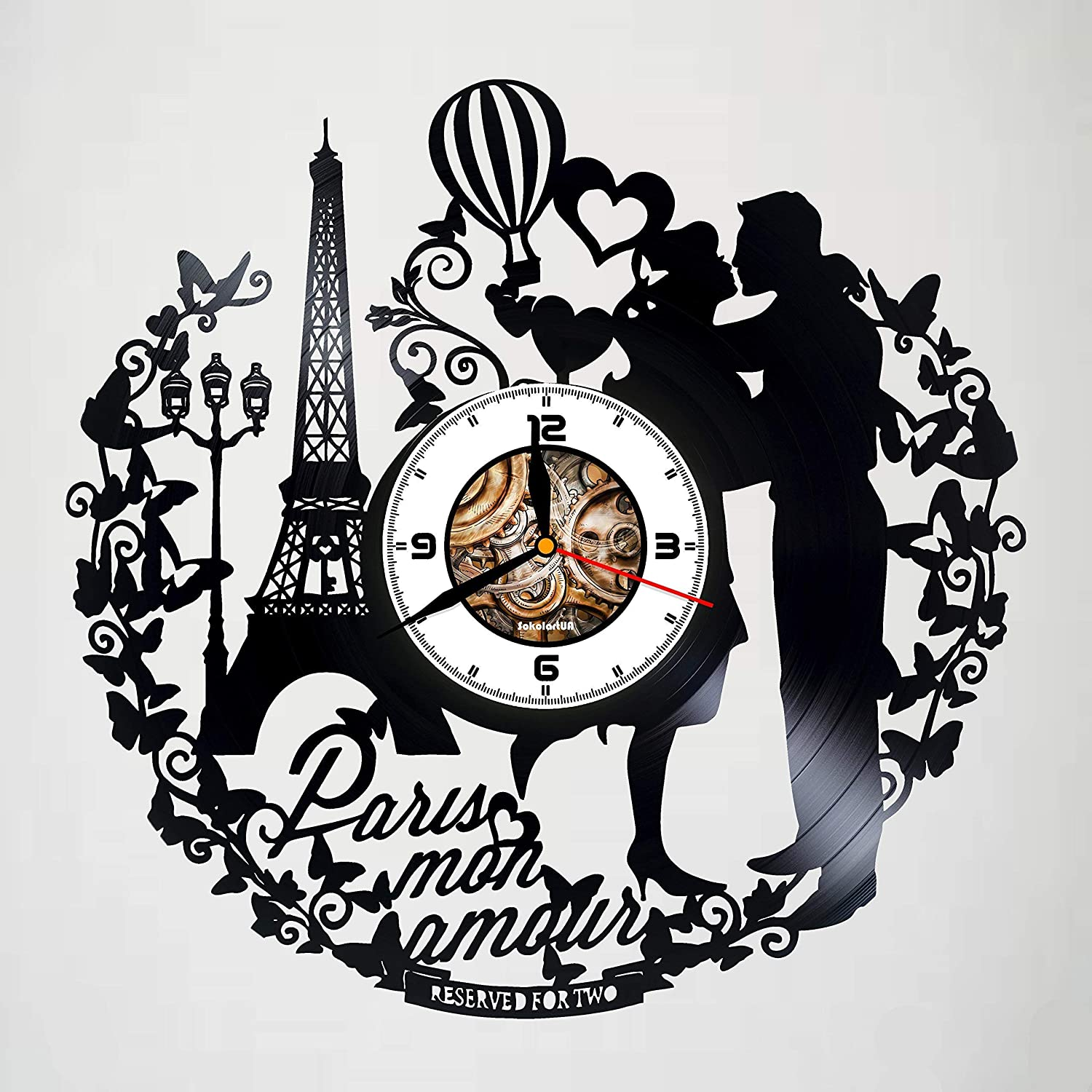 Laser Cut Paris France Mon Amour Vinyl Record Wall Clock DXF File