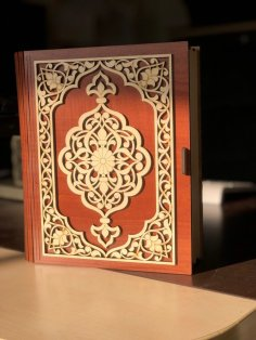 Laser Cut Decorative Wood Book Box Free Vector