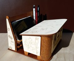 Laser Cut Classroom Furniture Shaped Organizer Phone Stand Pencil Holder Gift For Teacher Free Vector