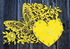 Laser Cut Decor Wall Clock With Butterfly Heart And Flowers Free Vector