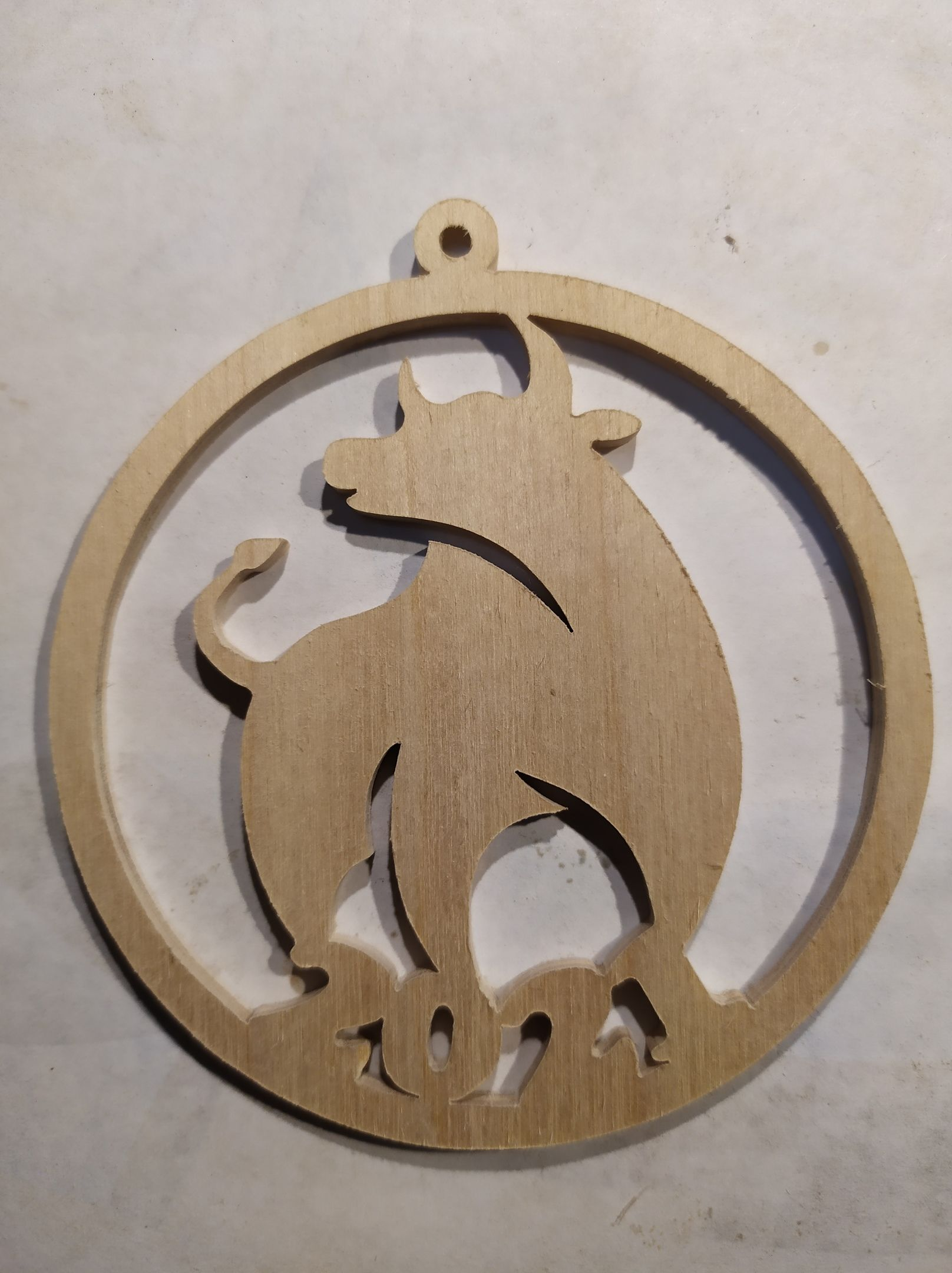 Laser Cut Bull Symbol New Year 2021 Decoration 3mm Plywood PDF File