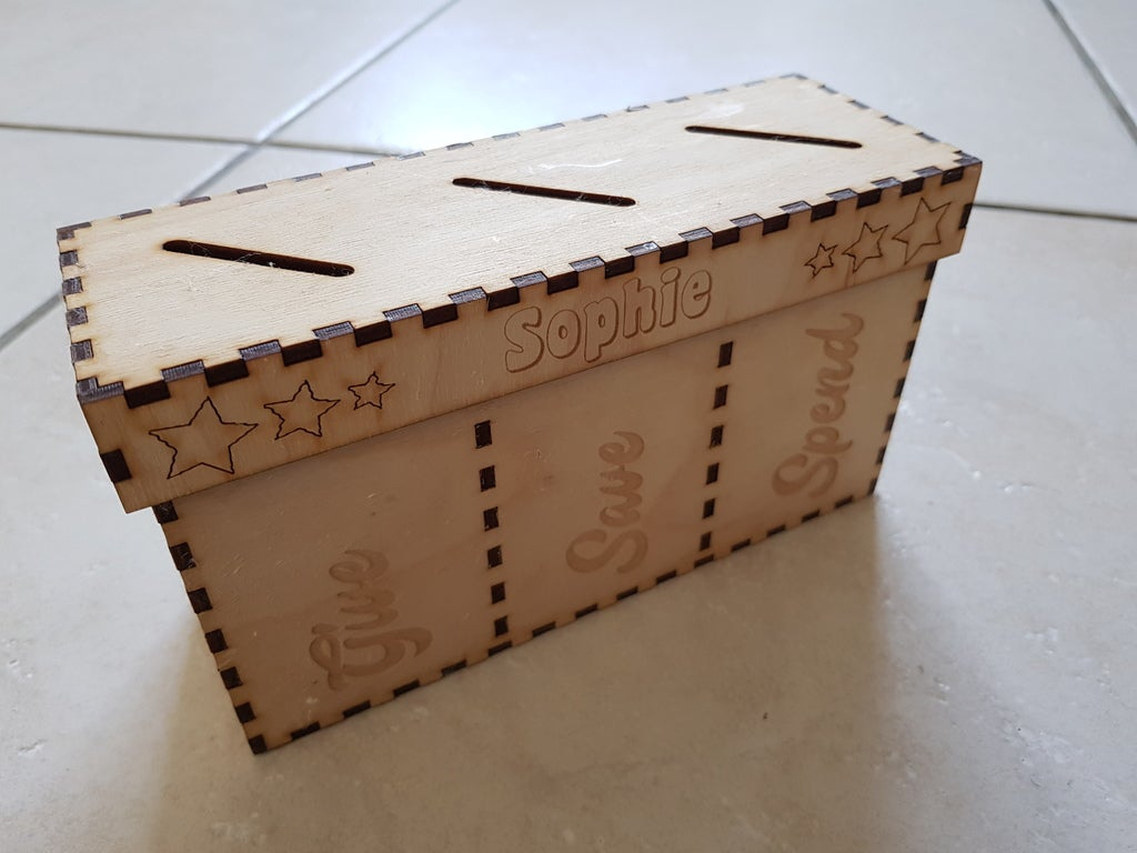 Laser Cut Save Spend Share 3 Compartment Piggy Bank 3mm SVG File