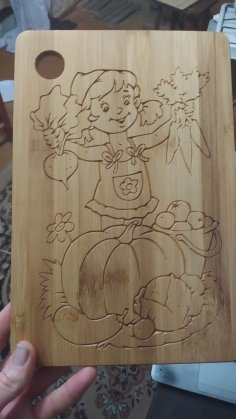 CNC Router Food Cutting Board Design Girl With Vegetables DXF File
