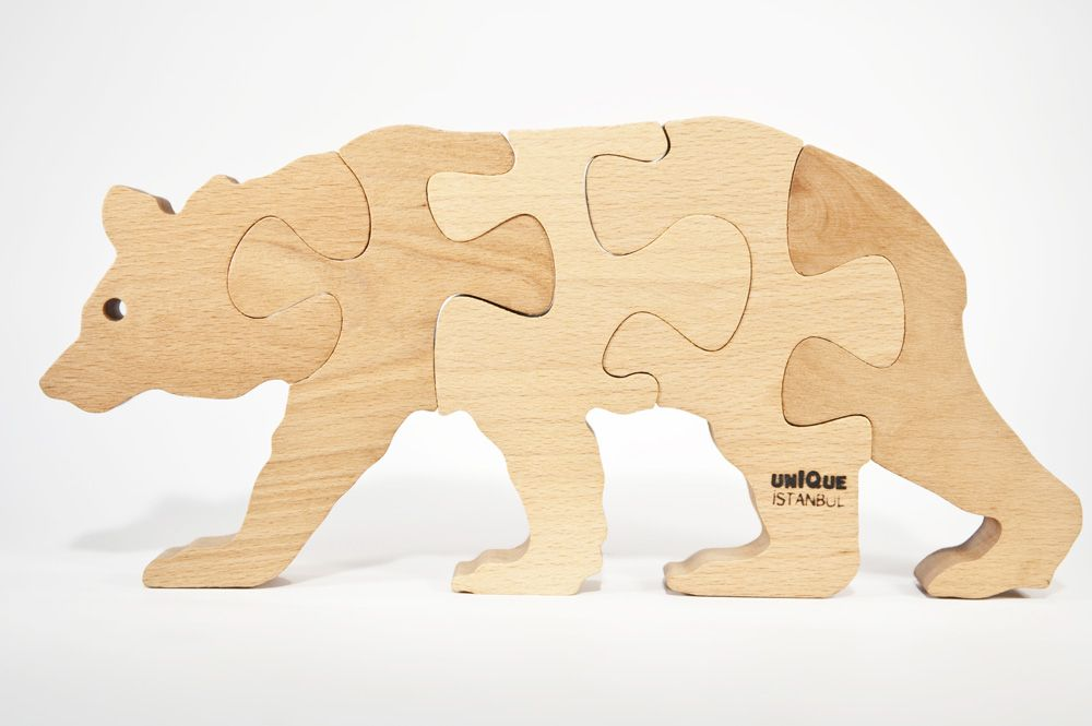 Bear Wooden Jigsaw Puzzle CNC Laser Cutting Plans DWG File
