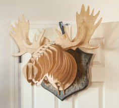 Laser Cut Moose Head Wall Mount Decor Template Free Vector