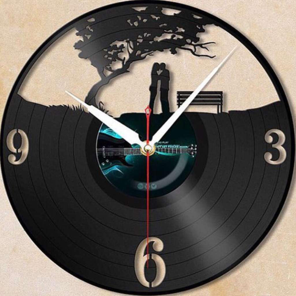 Love Romantic Couple Valentine Day Vinyl Record Wall Clock Laser Cut Template Free Vector