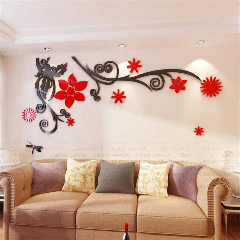 Laser Cut 3D Flower Acrylic Wall Sticker Wall Art Free Vector