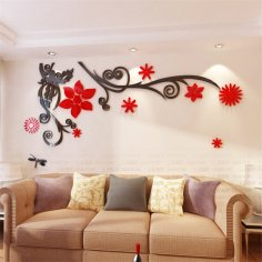 Laser Cut 3D Flower Acrylic Wall Sticker Wall Art Free Vector