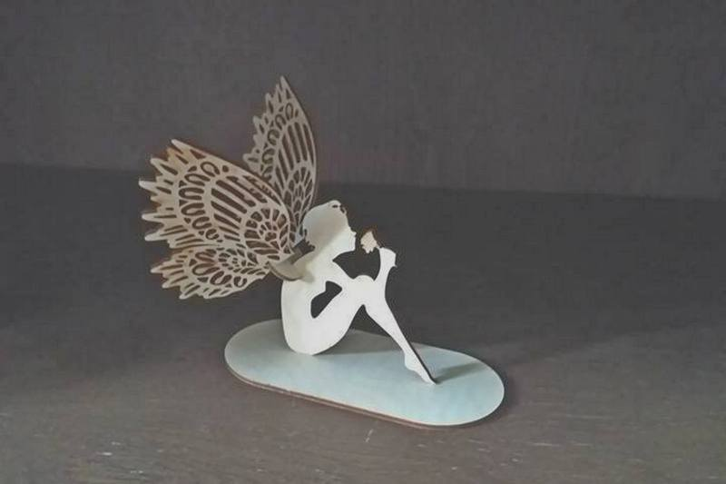 Laser Cut Angel Fairy On Stand Decoration DXF File