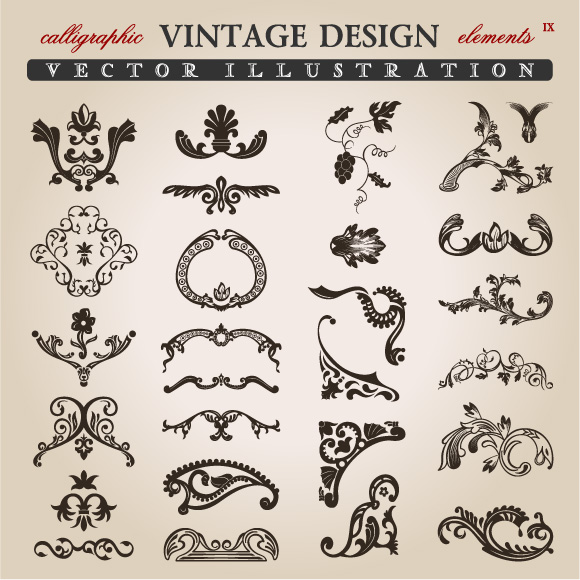 Calligraphic Vintage Design Elements Free Vector