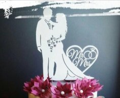 Married Couple Bride and Groom Topper Free Vector