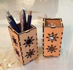 Laser Cut Wooden Pen Holder DXF File