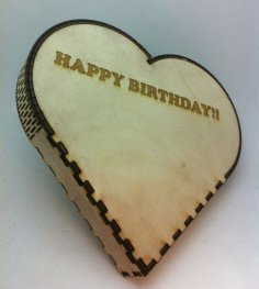 Laser Cut Heart Shape Box Birthday Gift Box Free Vector