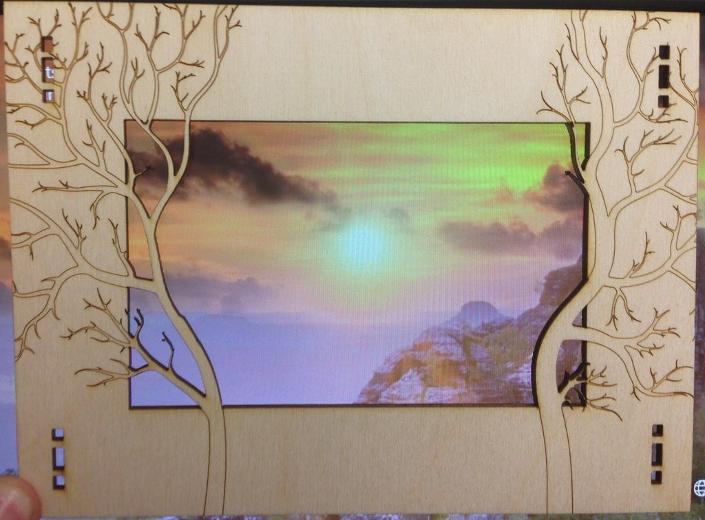 Forest Photo Frame Laser Cutting Template DXF File