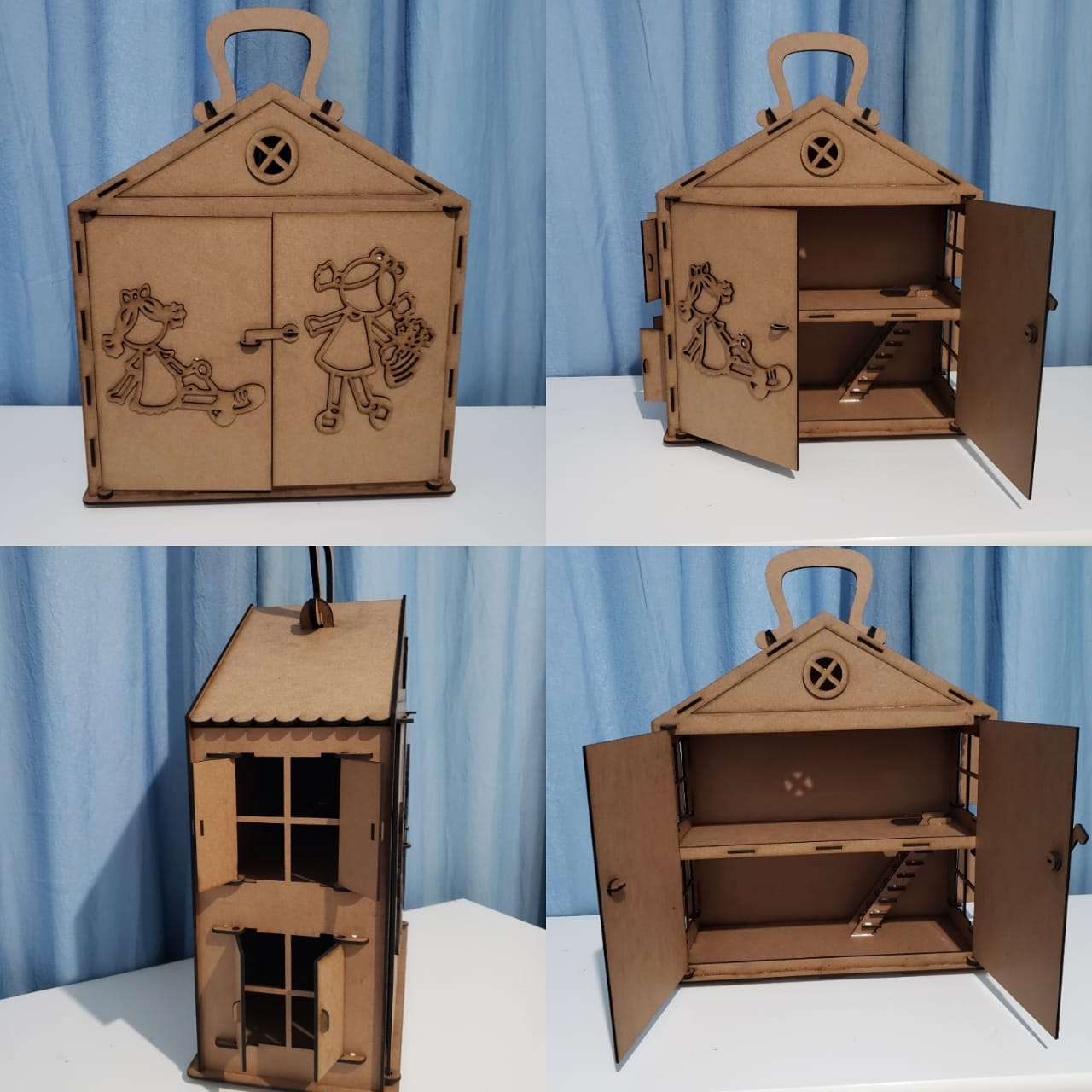 Laser Cut Portable Wooden Dollhouse With Working Doors Free Vector